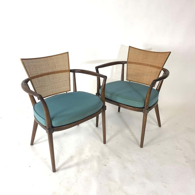 Pair of Sculptural Bert England Brass, Cane & Carved Walnut Arm or Dining Chairs For Sale - Image 13 of 13