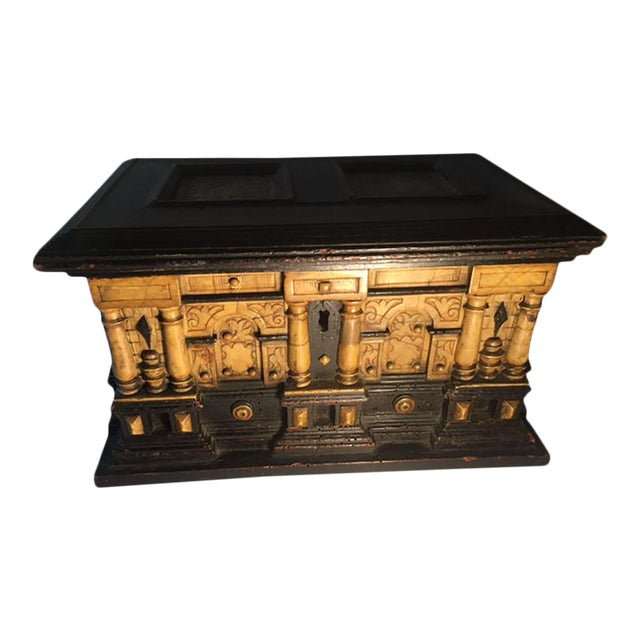 17th Century Alabaster and Ebonised Wood Casket Malines Coffer For Sale