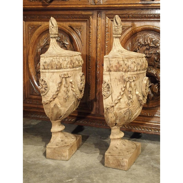 Pair of Neoclassical Style Carved Wooden Half Urns From England For Sale - Image 9 of 11