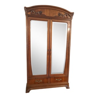 1900s French Art Nouveau Mahogany Armoire For Sale
