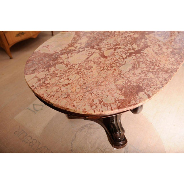 Rose Italian Dolphin Oval Table With Rose Marble Top For Sale - Image 8 of 11