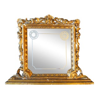 Carved Giltwood Etched Mirror For Sale