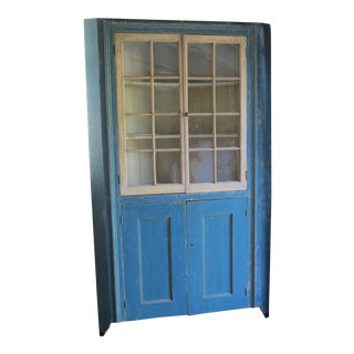 19th Century Cottage Blue Painted Corner Cupboard For Sale