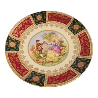 German French Courting Scene Motif Charger Plate For Sale