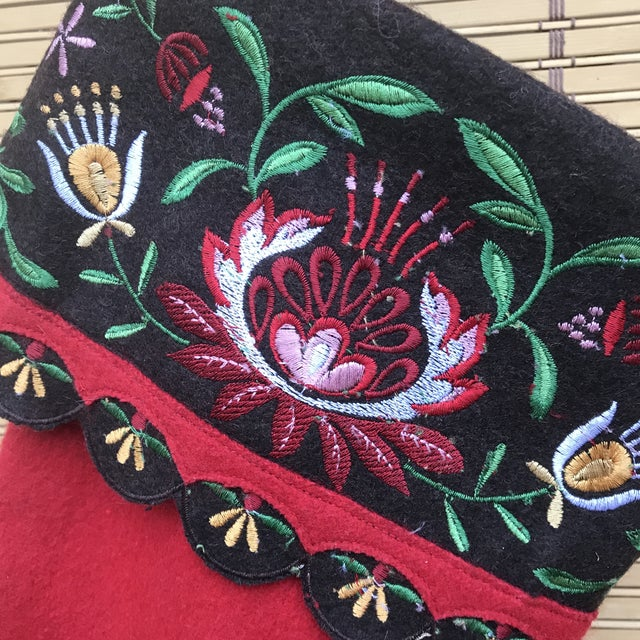 Red 1980s Bohemian Scandinavian Style Wool Embroidered Christmas Stocking For Sale - Image 8 of 10