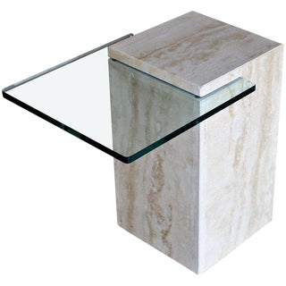 Modernist Travertine & Glass Occasional Table 1970's For Sale