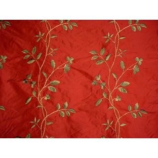 Lee Jofa Jargonelle Embroidered Floral Blossom Silk Upholstery Fabric- 5 Yards For Sale