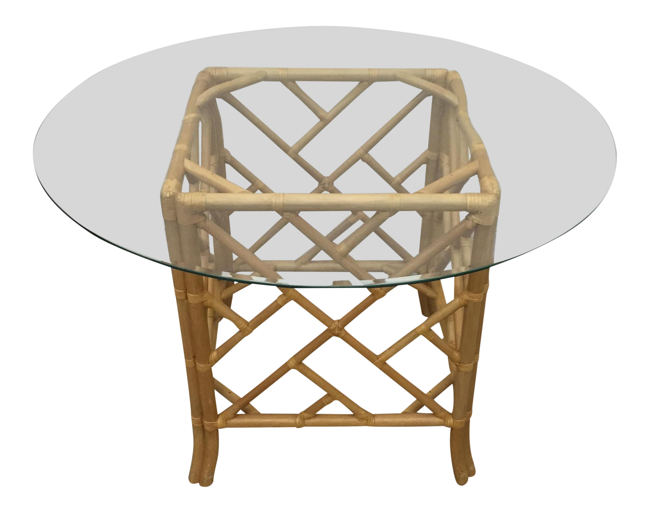 Bamboo And Rattan Table With Glass Top