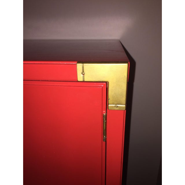 Thomasville Campaign Style Red Lacquered Armoire - Image 8 of 10