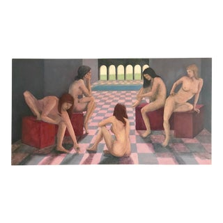Vintage Modern Surrealist Nude Female Figures in Interior Oil Painting by Page For Sale