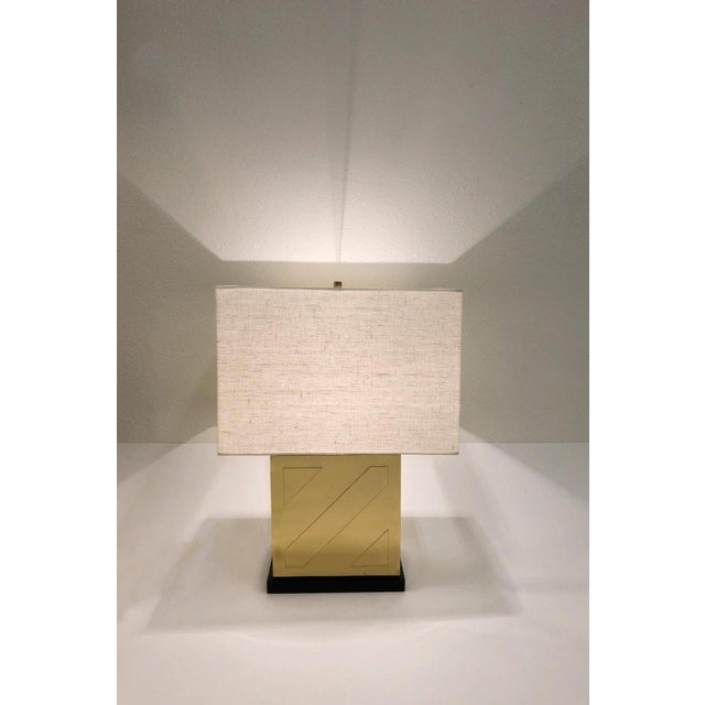 Chapman Polish Brass and Black Lacquer Table Lamps - a Pair For Sale In Palm Springs - Image 6 of 11