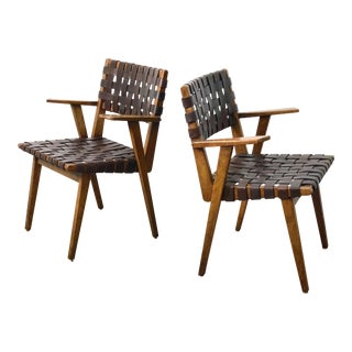 1940s Mid Century Modern Leather Webbed Chairs - a Pair