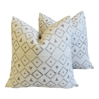 "Neutral & Gray Mali Tribal Feather/Down Pillows 22"" Square - Pair For Sale"