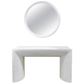 1970s White Lacquered Console Table and Mirror