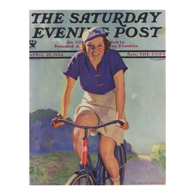 Matted Vintage Print-Woman Cyclist on Bike For Sale