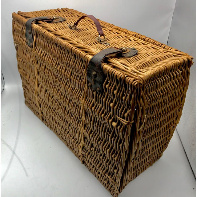 Americana 1950s Vintage Wicker Suitcase Basket For Sale - Image 3 of 5