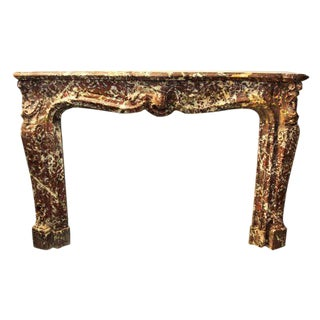 Louis XV French Oversized Marble Mantel