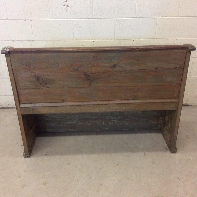 High Back Pickled Wood Bench For Sale - Image 9 of 12