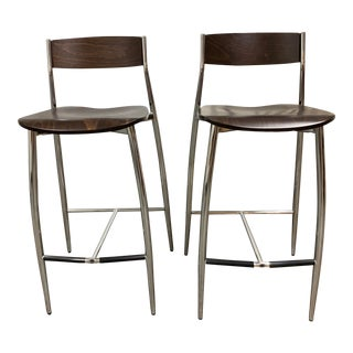 Design Withing Reach Altek Baba Wood + Chrome Barstools - a Pair For Sale