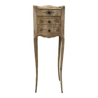 1910s French Provincial Hand Painted Side Table With Floral Detailing and Brass Handles For Sale