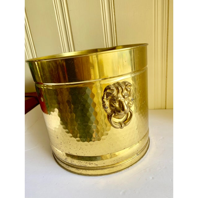 Gold Metal Lion Head Vessels, Set of Two For Sale - Image 4 of 13