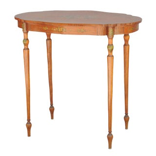 Exquisite Hand Painted Satinwood Table