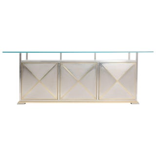 Brass and steel Maison Jansen Credenza with clear Glass Top For Sale