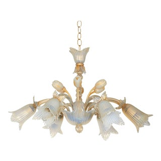 Opaline Murano Glass Floral Chandelier with Gold Flakes For Sale