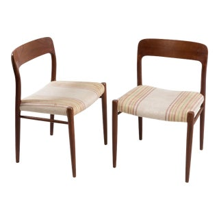 Niels Möller for j.l. Möllers Style Modell 75 Danish Teak Dining Chairs - Set of 2 For Sale