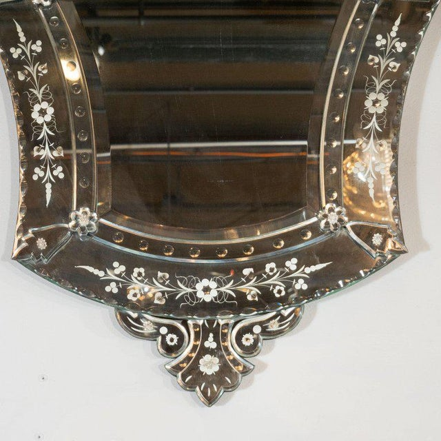 Mid-Century Modern Mid-Century Modern Neoclassical Venetian Cartouche Form Chain Bevelled Mirror For Sale - Image 3 of 7