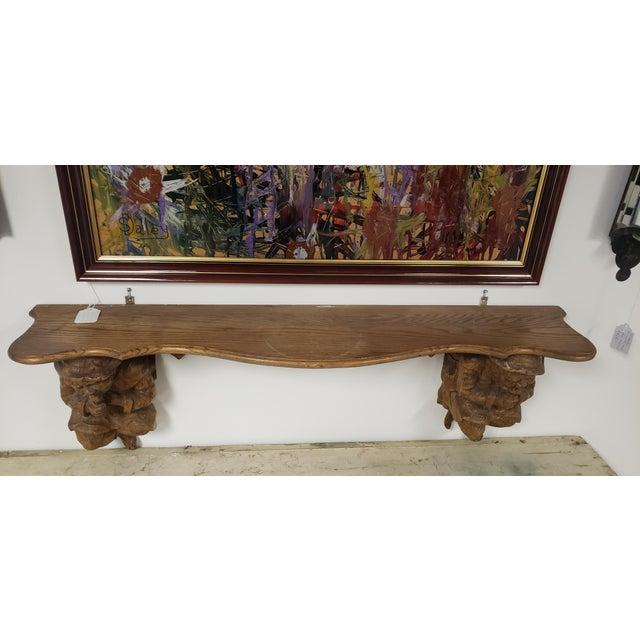 Rustic Antique Hand Carved Black Forest Oak Mantle For Sale - Image 3 of 10