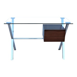 Mid-Century Modern Franco Albini Style Floating Glass Top Pedestal Desk