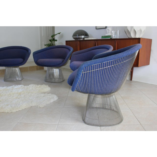 Textile Warren Platner for Knoll Blue Upholstered Platner Lounge Chairs- a Pair For Sale - Image 7 of 10