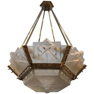 Grand French Art Deco Geometric Chandelier Signed by Muller Freres Luneville For Sale