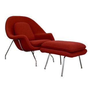 Mid-Century Modern Eero Saarinen Style Womb Chair & Ottoman For Sale