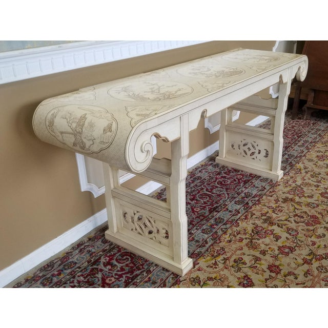 1980s Drexel Heritage White Asian Ming Alter Console Table For Sale - Image 9 of 10