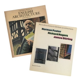 English Architecture Past & Present Books - a Pair For Sale