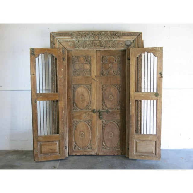 Antique Northern India Hand Carved Double Doors With Jamb - Image 2 of 10