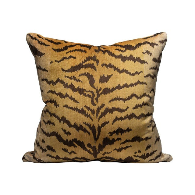 Transitional Scalamandre Tigre Pillow, Ivory, Gold, Black For Sale - Image 3 of 3