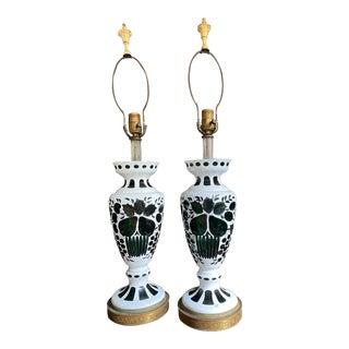 Antique Bohemian Emerald Glass Lamps - a Pair For Sale