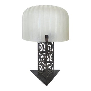 French Art Deco Iron and Glass Table Lamp For Sale