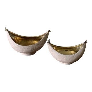 Modern Indian Brass Lined Bowls- Pair For Sale