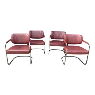 Mid-Century Brayton International Red Leather and Chrome Cantilever Chairs For Sale