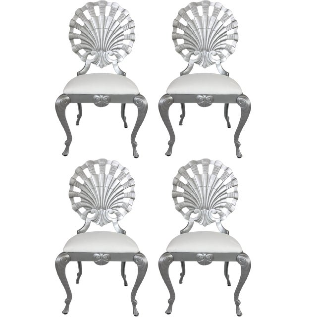 1950s Hollywood Regency Style Grotto Side Chairs in Silver - Set of 4 For Sale