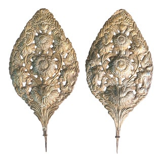 Early 18th Century Baroque Repousse Dutch Brass Sunflower Sconce Backplates - a Pair For Sale