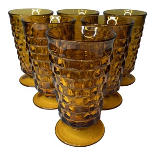 1960s Amber Whitehall Iced Tea Glasses - Set of 6 For Sale