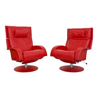 Mid Century Modern Lafer Pair Red Leather Reclining Lounge Chairs 1970s Brazil