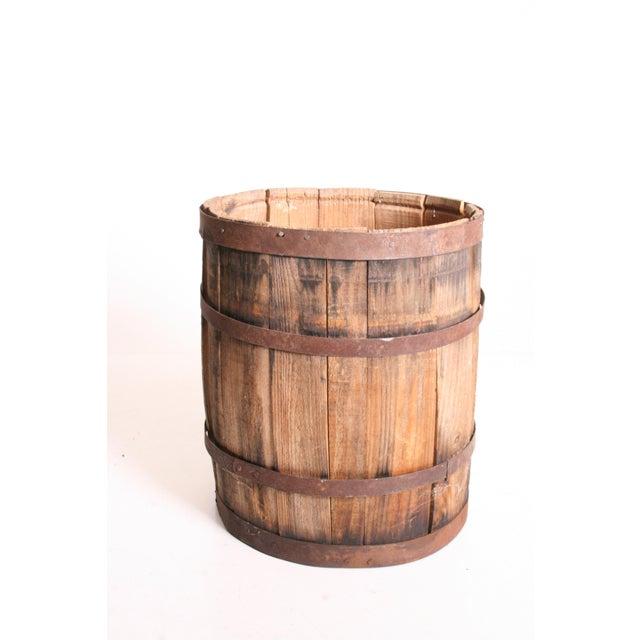 Vintage Rustic Banded Weathered Wood Nail Keg - Image 3 of 11