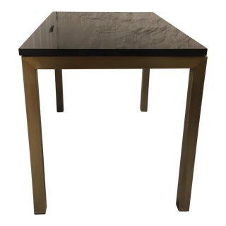 Crate and Barrel Black Marble Top Dining Table For Sale