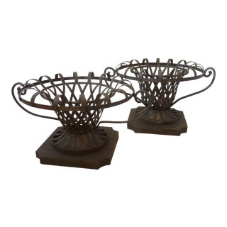 Vintage Mediterranean Latticework Iron Planters - a Pair For Sale